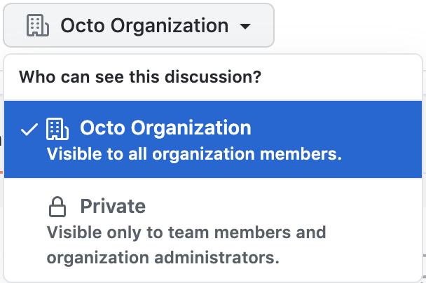 Team discussions privacy settings menu