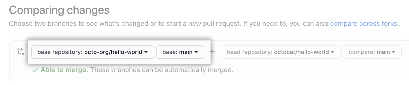 Drop-down menus for choosing the base fork and branch