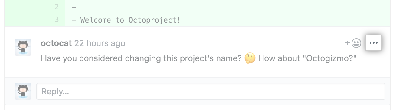 Kebab button in pull request review comment
