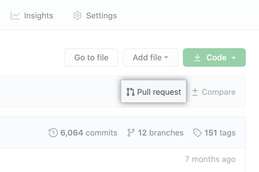 """link de """"pul request"""" acima da lista de arquivos"""