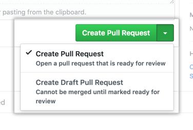 Botón Create pull request (Crear una solicitud de extracción)