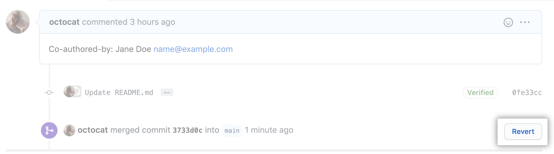 Revert pull request link