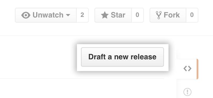 Botão Releases draft (Rascunho de versões)