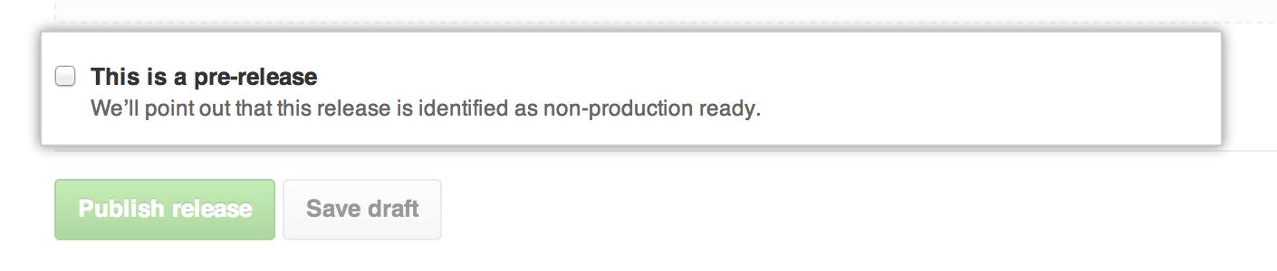 Caixa de seleção para marcar uma versão como pré-versão