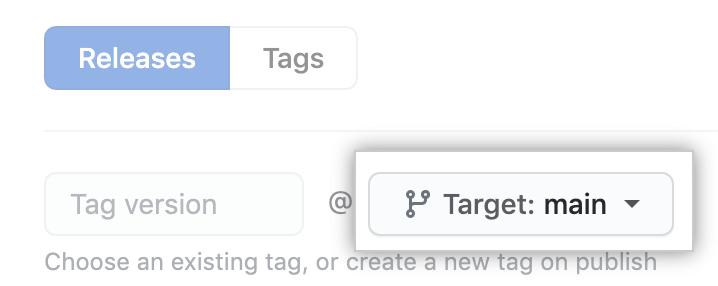 Branch com tag das versões