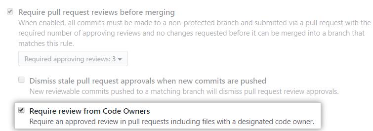 Require review from code owners (Exigir revisão de proprietários de código)
