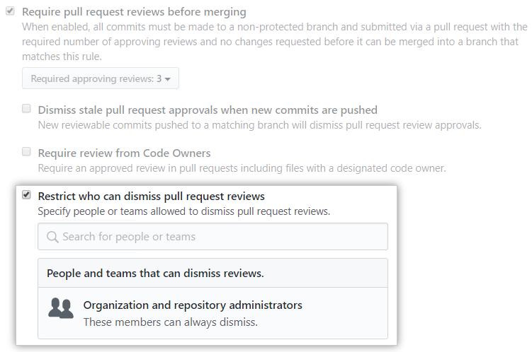 Caixa de seleção Restrict who can dismiss pull request reviews (Restringir quem pode ignorar revisões de pull request)