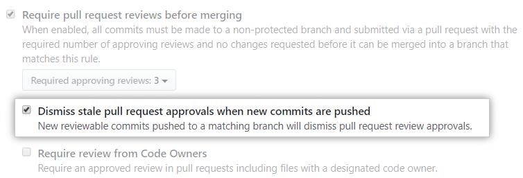 Caixa de seleção Dismiss stale pull request approvals when new commits are pushed (Ignorar aprovações de pull requests obsoletas ao fazer push de novos commits)