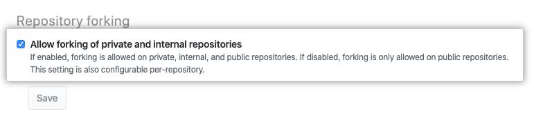 允许或禁止组织复刻的复选框