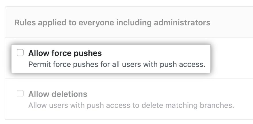 Permitir opção push forçado