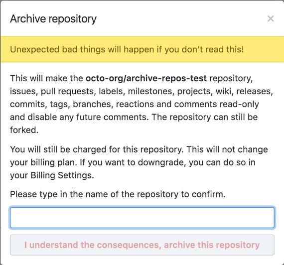Advertencias para archivar el repositorio