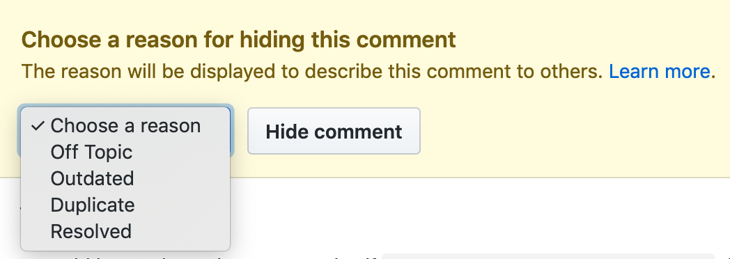 Choose reason for hiding comment drop-down menu
