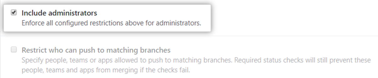 Caixa de seleção Include administrators (Incluir administradores)