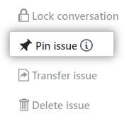 Issue をピン止めするボタン