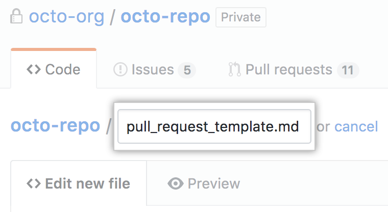 New pull request template name in root directory