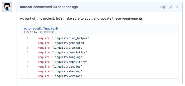 Trecho de código renderizado em um comentário