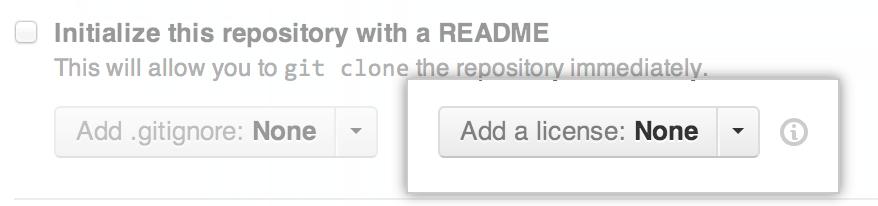 Captura de pantalla del selector de licencias en GitHub.com