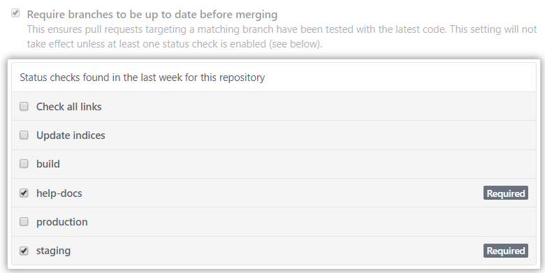 Lista de verificações de status disponíveis