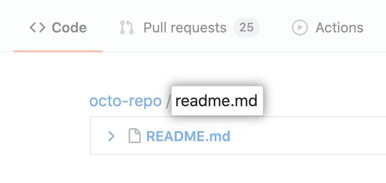 Campo de pesquisa Find file (Localizar arquivo)