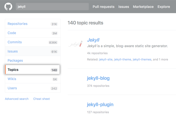 Jekyll repository search results page on dotcom with topics side-menu option highlighted