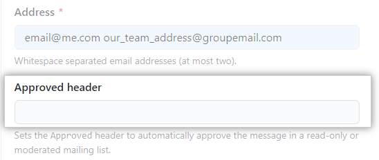 Email approved header textbox