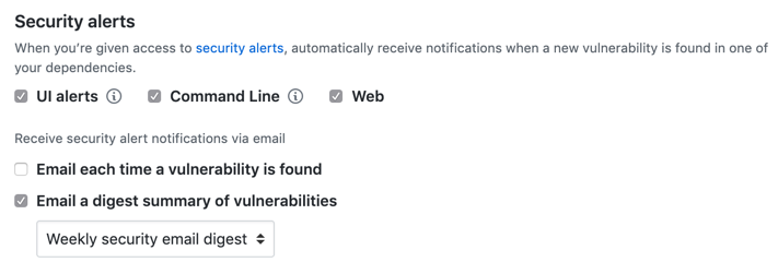 Opciones para configurar notificaciones para alertas de seguridad