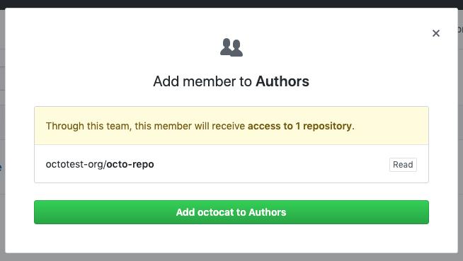 新しいTeamメンバーがアクセスできるリポジトリのリストと確認ボタンを持つモーダルボックス