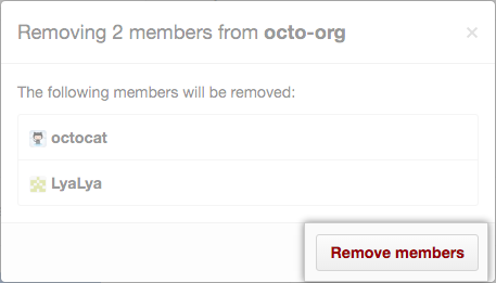 Lista de miembros que se eliminarán y botón Remove members (Eliminar miembros)