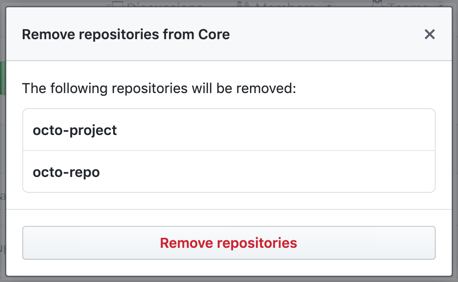 Modal box with a list of repositories that the team will no longer have access to