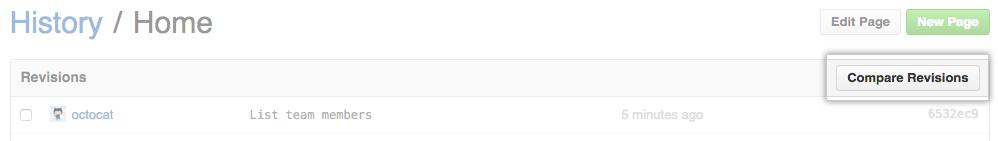Wiki compare revisions button