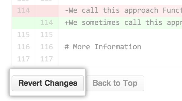 Wiki revert changes button