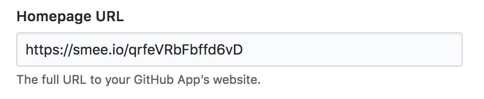 Formulário com domínio da Smee preenchido para URL da página inicial