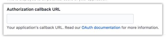 Campo para a URL de retorno de chamada de autorização do seu aplicativo