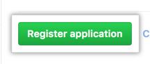 Botão para registrar um aplicativo