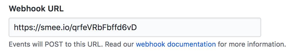 Formulário com domínio da Smee preenchido para URL do webhook