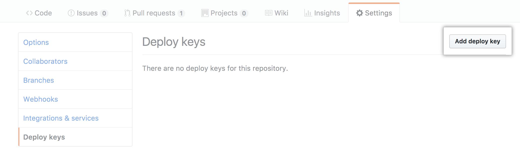 Add Deploy Keys link