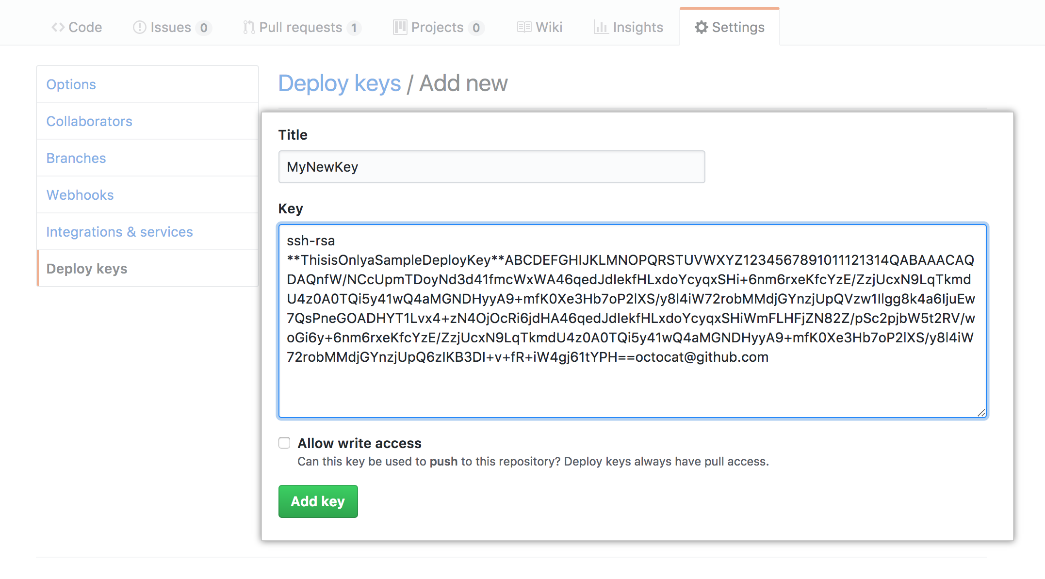 Deploy Key page
