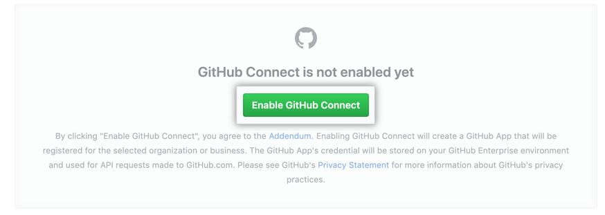 「Enable GitHub Connect」ボタン