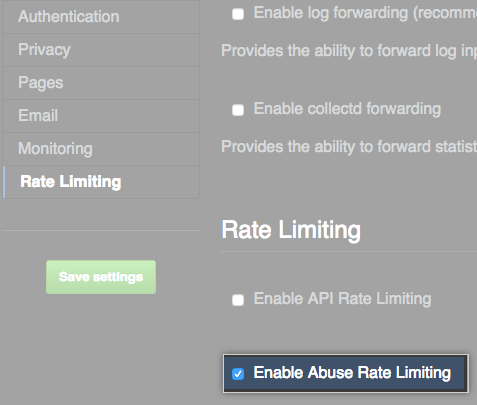 Caixa de seleção para habilitar limite de taxas de abuso