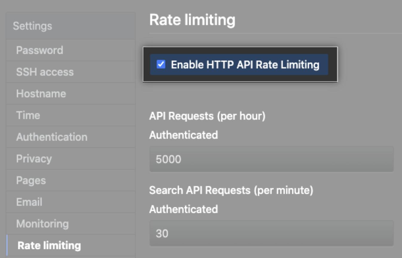 Caixa de seleção para habilitar limite de taxas de API