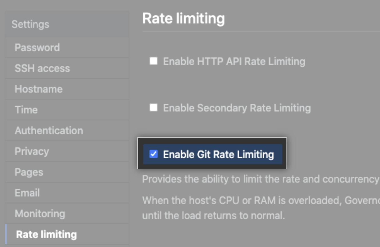 Caixa de seleção para habilitar limite de taxas do Git