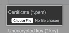 TLS 証明書ファイルを見つけるためのボタン