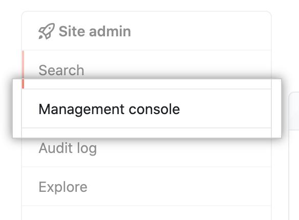 """Registerkarte """"Managementkonsole"""" in der linken Seitenleiste"""