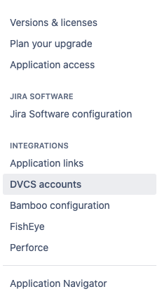 Jira Integrations menu - DVCS accounts