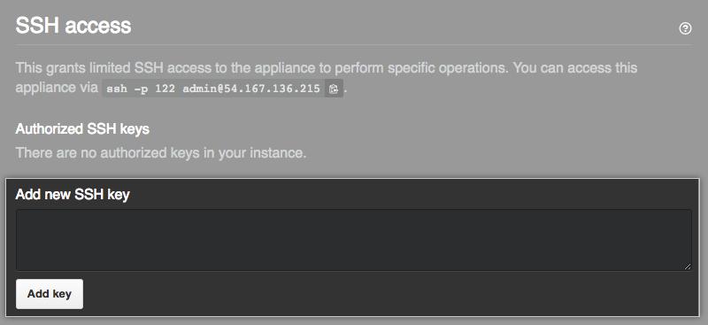 Cuadro te texto y botón para agregar una clave SSH