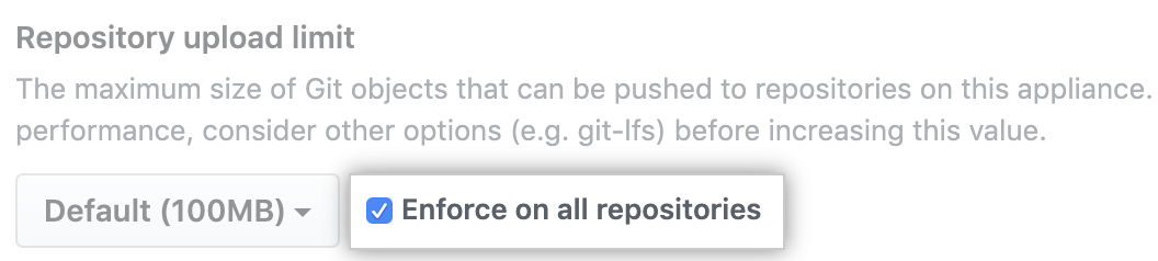Option zur zwangsweisen Begrenzung der Objektgröße für alle Repositorys