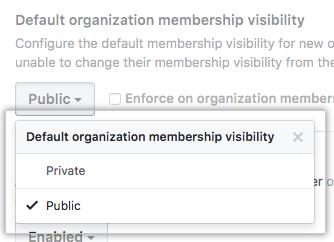 デフォルトの Organization のメンバーシップの可視性をパブリックあるいはプライベートに設定するオプションを持つドロップダウンメニュー
