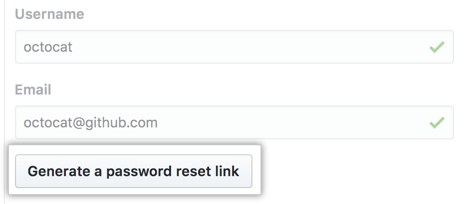 Generate a password reset link button