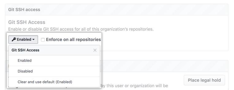 無効化オプションが選択されたGit SSHアクセスドロップダウンメニュー