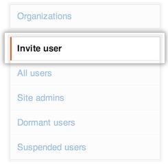 Invite user tab in the site admin console